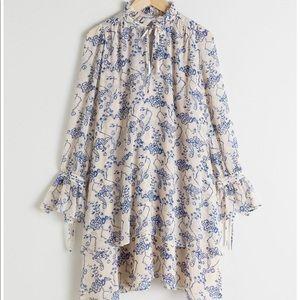 Ruffle collar cloud print mini dress